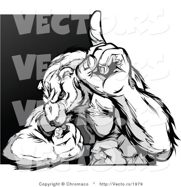Vector of a Competitive Cartoon Polar Bear Mascot Pointing up - Grayscale Design