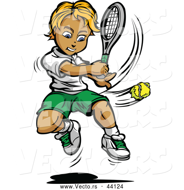 Vector of a Competitive Cartoon Tennis Player Swinging at a Ball