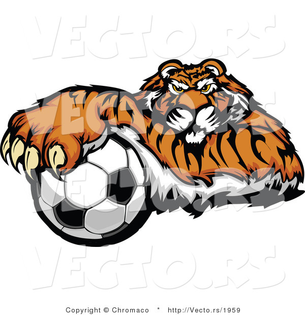 Vector of a Competitive Cartoon Tiger Mascot Gripping Soccer Ball with Paw