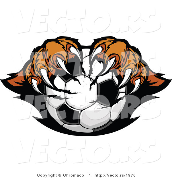 Vector of a Competitive Cartoon Tiger Mascot Gripping Soccer Ball with Paws and Sharp Claws