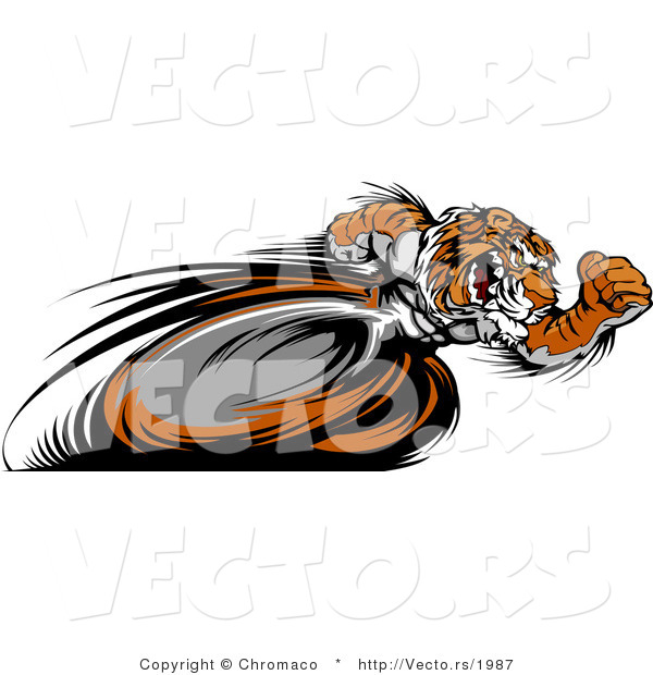 Vector of a Competitive Cartoon Tiger Mascot Racing - Motion Blurred Hind Legs
