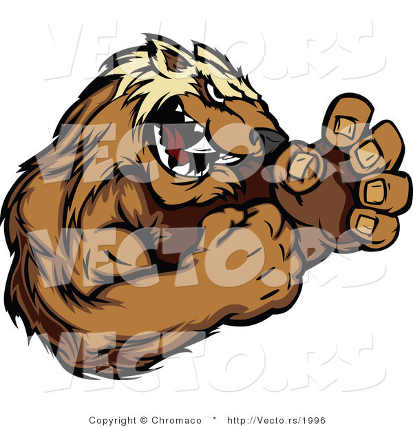 Vector of a Competitive Cartoon Wolverine Mascot in Fighting Stance While Growling Aggressively