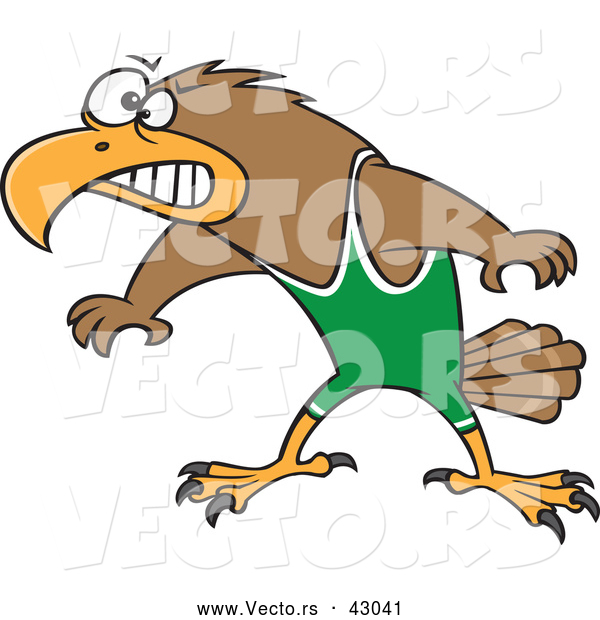 Vector of a Competitive Cartoon Wrestler Hawk Prepared to Fight