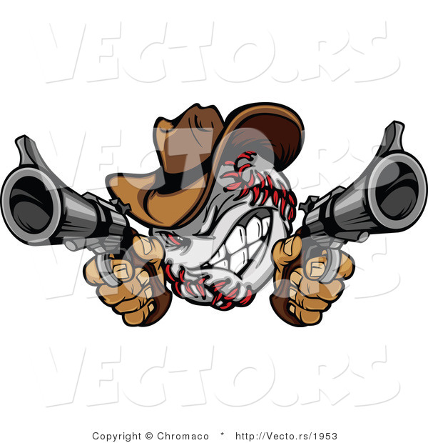 Vector of a Competitive Cowboy Baseball Shooting with Two Guns While GrinningCompetitive Cowboy Baseball Shooting with Two Guns While Grinning - Coloring Page Outline