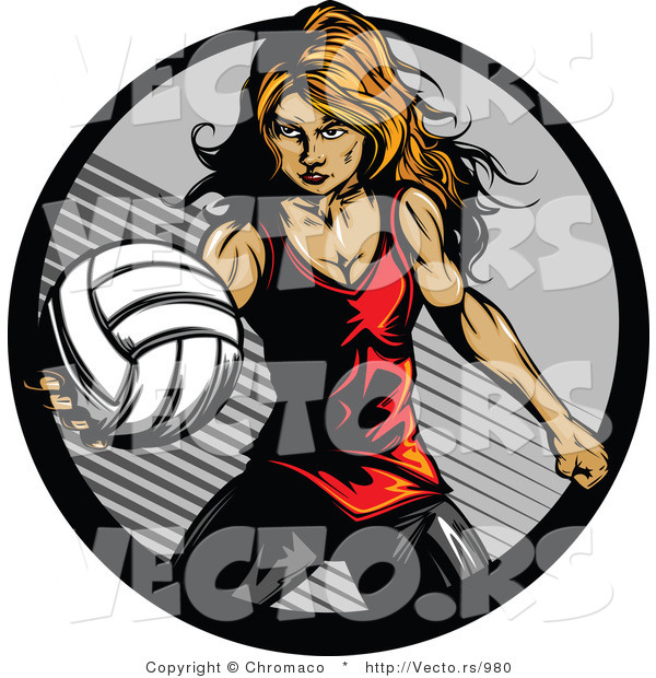 Vector of a Competitive Female Volleyball Player Serving the Ball