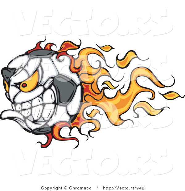 Vector of a Competitive Flaming Soccer Ball Mascot Character
