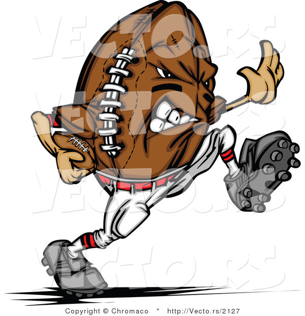 Vector of a Competitive Football Mascot Running the Ball down Field While Grinning