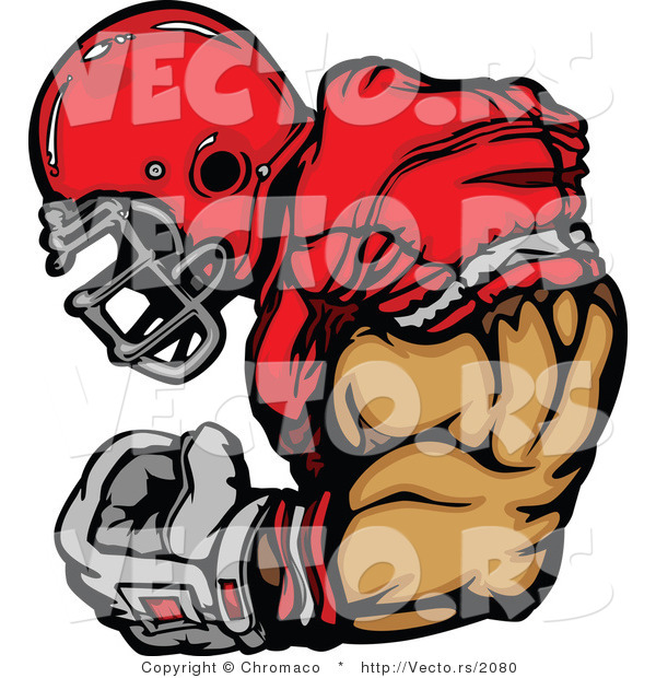 Vector of a Competitive Football Player Flexing Strong Arm Muscles