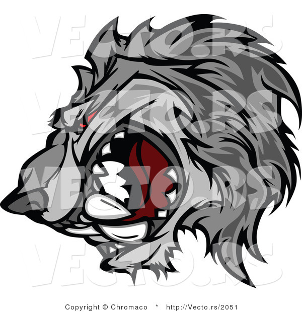 Vector of a Competitive Gray Wolf Mascot Growling with Intimidating Red Eyes