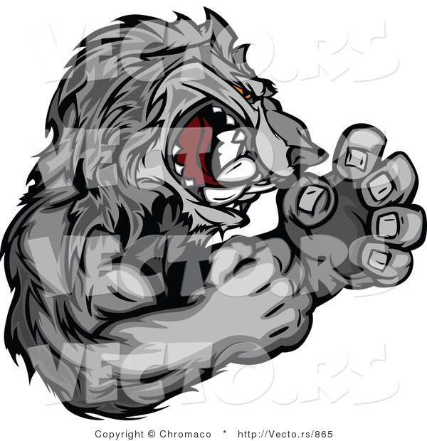 Vector of a Competitive Gray Wolf Mascot in Fighting Stance