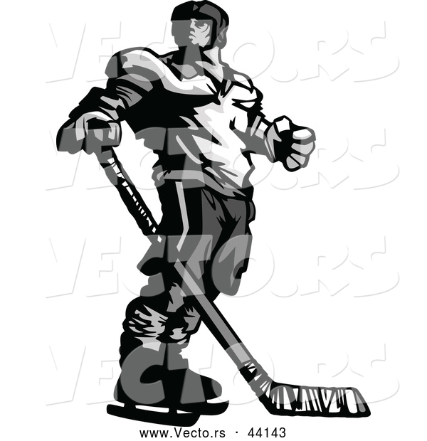 : Vector of a Competitive Hockey Player Mascot Looking over His Shoulder - Grayscale Version