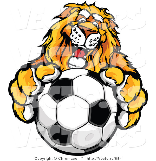 : Vector of a Competitive Lion Mascot Gripping a Soccer Ball