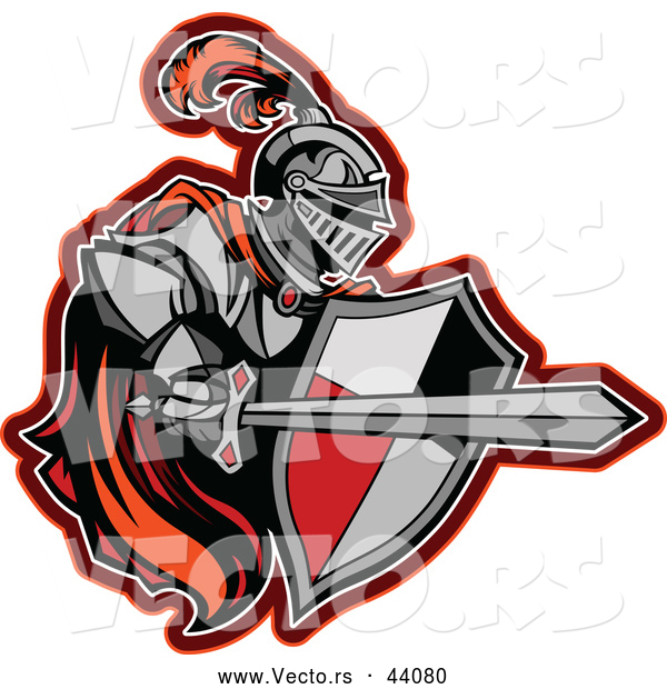Vector of a Competitive Red Knight with a Cape, Shield, and Sword