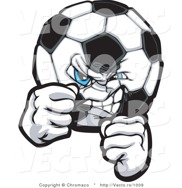 Vector of a Competitive Soccer Ball Gritting Teeth in a Fighting Stance