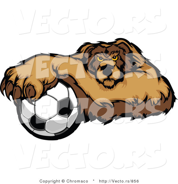 Vector of a Competitive Soccer Bear Mascot Gripping Ball with Paw