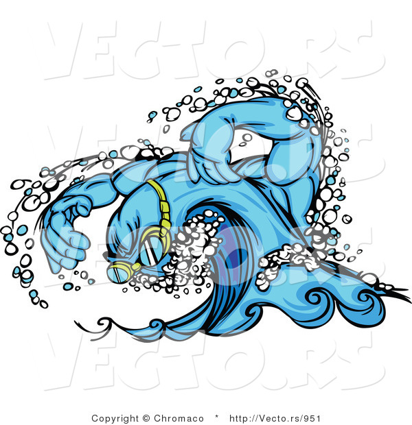Vector of a Competitive Swimming Wave Mascot Wearing Goggles and Moving Swiftly