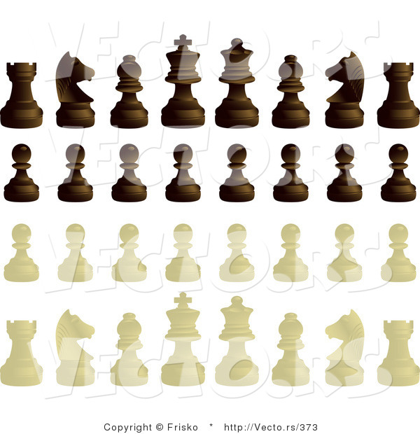 Vector of a Complete Set of Black and White Chess Pieces