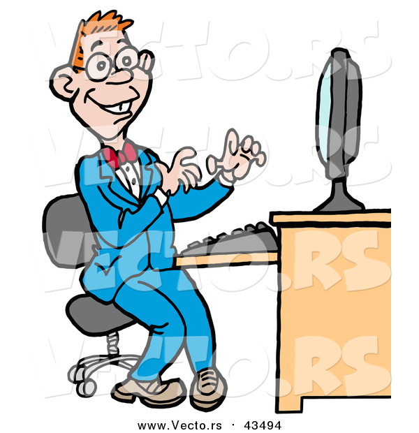 Vector of a Computer Geek Man in a Blue Suit, Working on a Computer