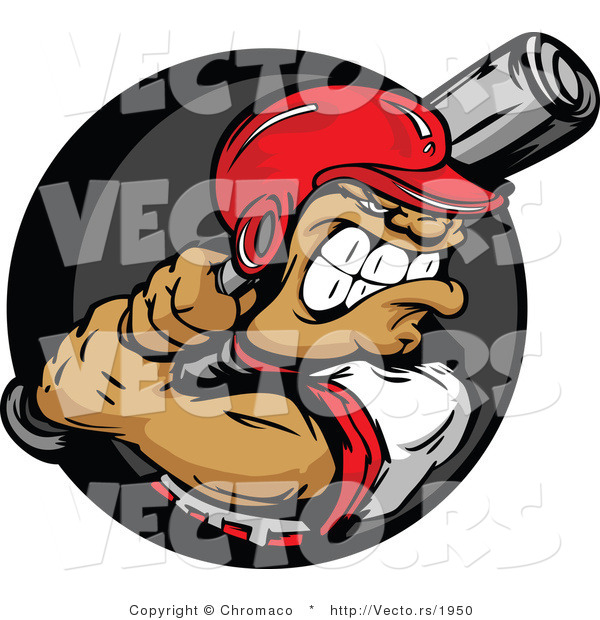 Vector of a Confident Baseball Athlete Preparing to Swing a Bat at Ball