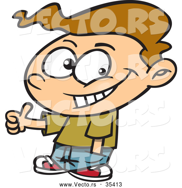 Vector of a Confident Cartoon Boy Giving Thumbs up Hand Gesture While Smiling