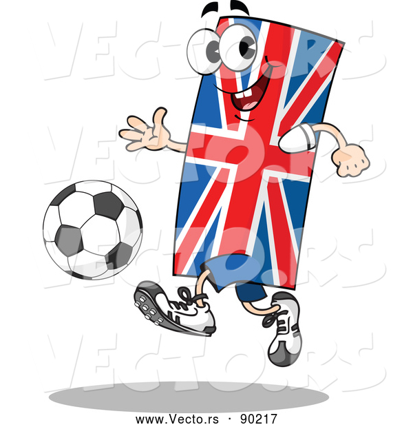 Vector of a Confident Cartoon Union Jack Flag Mascot Playing Soccer