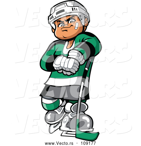 Vector of a Confident Cartoon White Hockey Player Man Posing with Stick