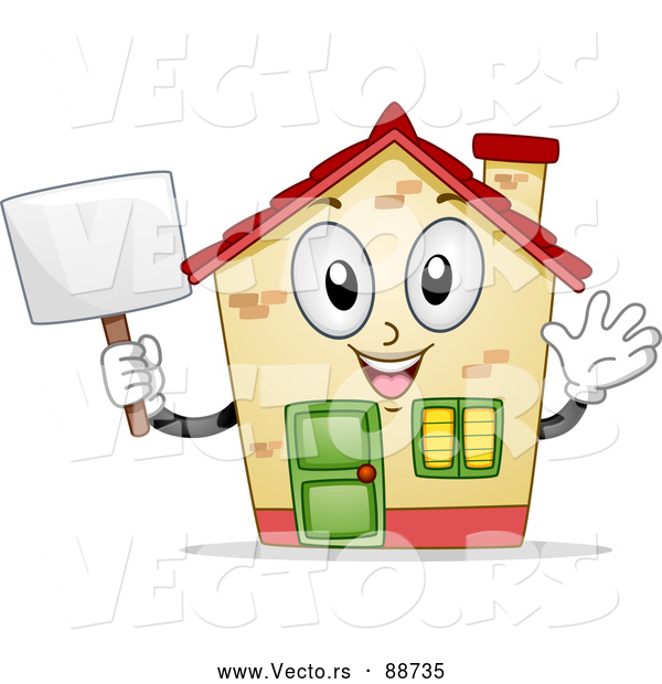 Vector of a Confident House Mascot Waving and Holding a Sign
