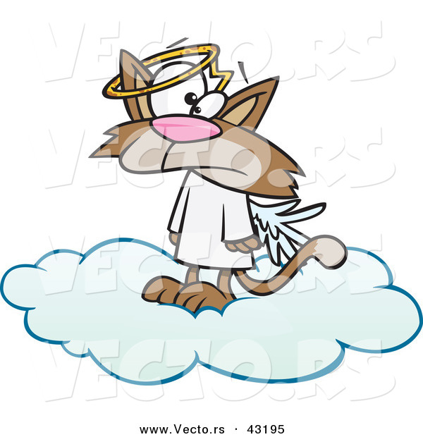 Vector of a Confused Cartoon Angel Cat Standing on a Heavenly Cloud