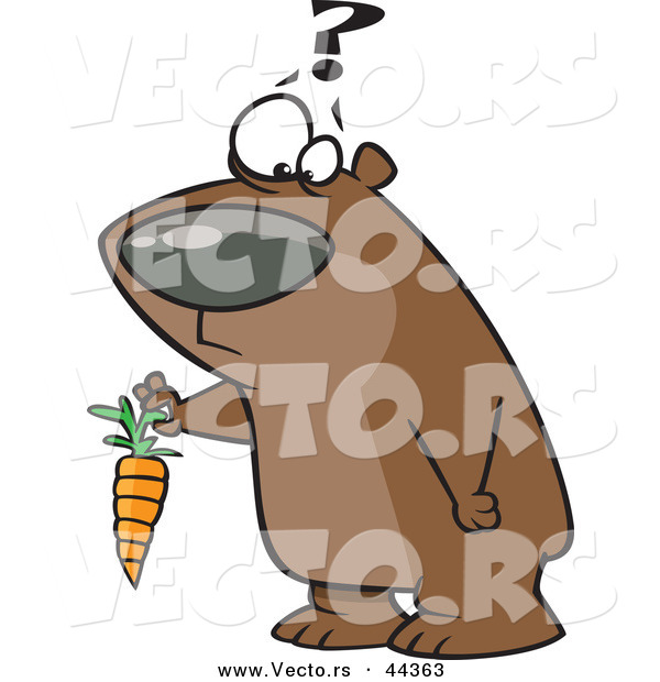 Vector of a Confused Cartoon Bear Holding a Carrot