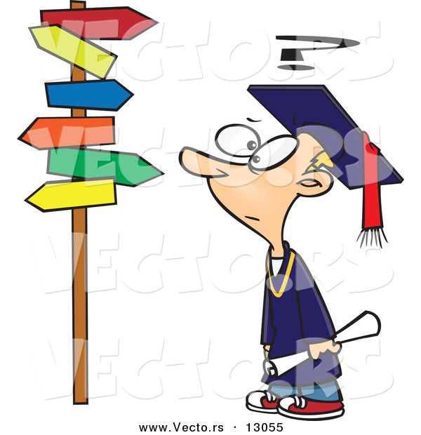 Vector of a Confused Cartoon Graduate Boy Looking at Directional Signs