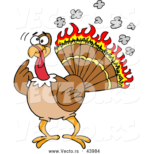 Vector of a Confused Cartoon Turkey with Flames Burning His Feathers