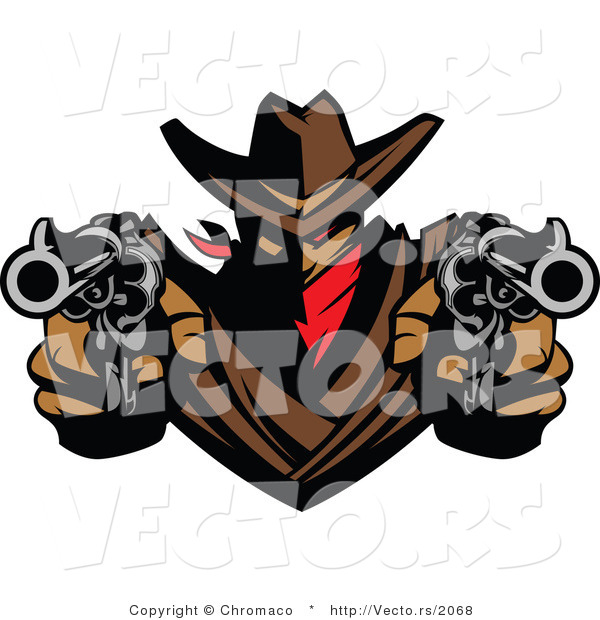 Vector of a Cowboy Outlaw Pointing Two Loaded Hand Guns