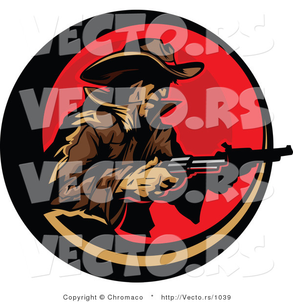 Vector of a Cowboy Pointing Two Pistols Within a Red Circular Icon