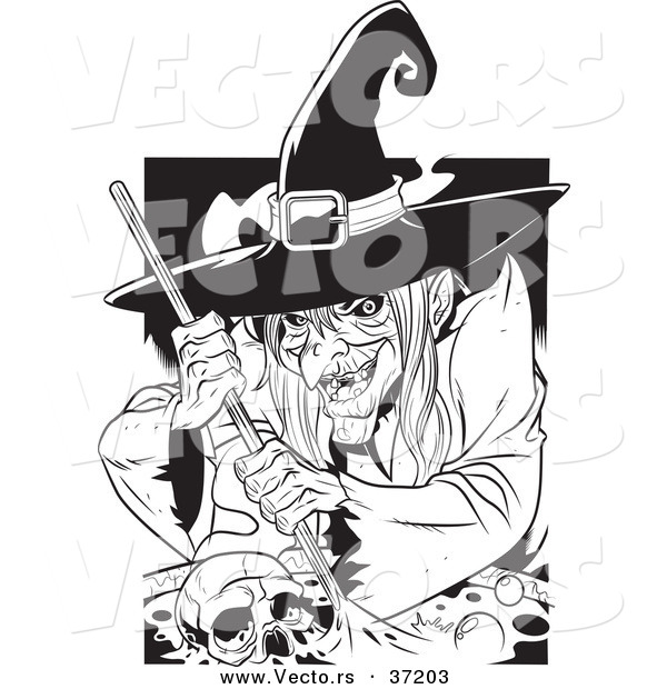 Vector of a Creepy Witch Grinning While Mixing a Human Skull and Potion in a Cauldron - Black and White Line Art