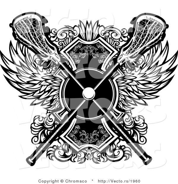 Vector of a Crisscrossed Lacrosse Sticks over Badge with Wings - Black and White