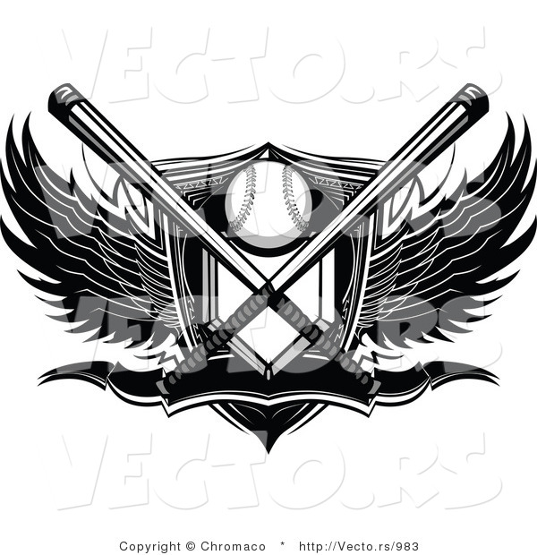 Vector of a Crossed Bats over Baseball Plate Shield Banner with Wings - Black and White