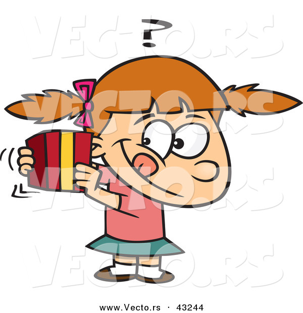Vector of a Curious Cartoon Girl Trying to Guess a Wrapped Present