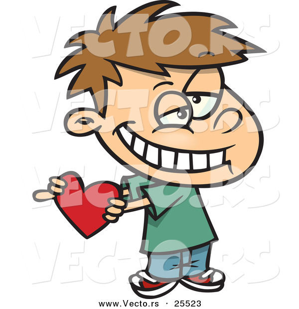 Vector of a Cute White Boy Holding a Red Valentine Love Heart While Grinning