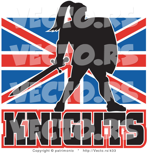 Vector of a Dark British Knight Armed with Sword and Protective Shield