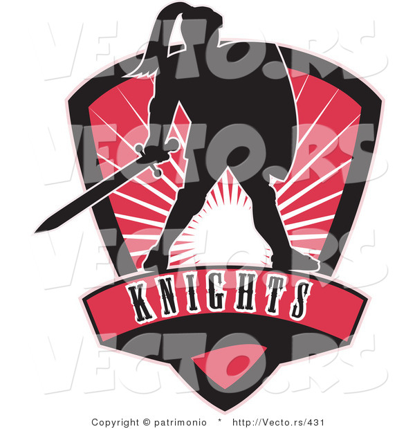 Vector of a Dark Knight with Sword and Shield