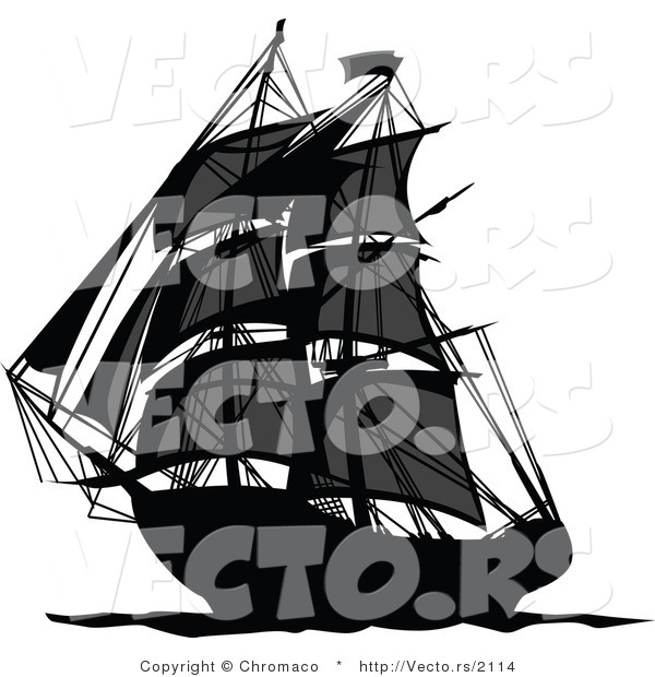 Vector of a Dark Pirate Ship Sailing Ocean Waters