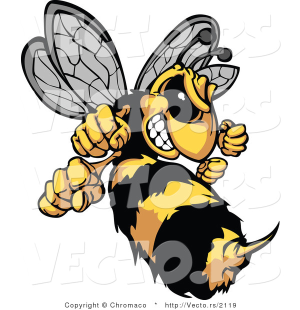 Vector of a Defensive Cartoon Hornet Mascot Prepared to Sting