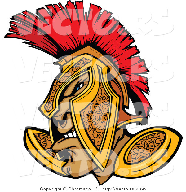 Vector of a Defensive Cartoon Spartan Warrior Wearing Gold and Red Helmet While Grinning