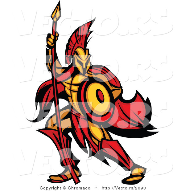 Vector of a Defensive Spartan Warrior Armed with a Spear and Protective Shield