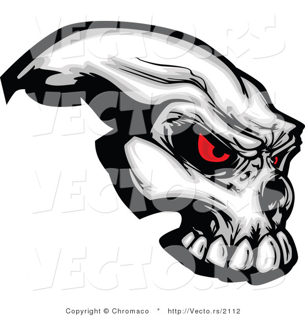 Vector of a Demonic Skull Staring with Intimidating Red Eyes