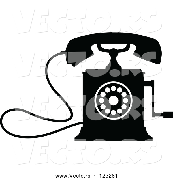 Vector of a Desk Crank Telephone - Black and White