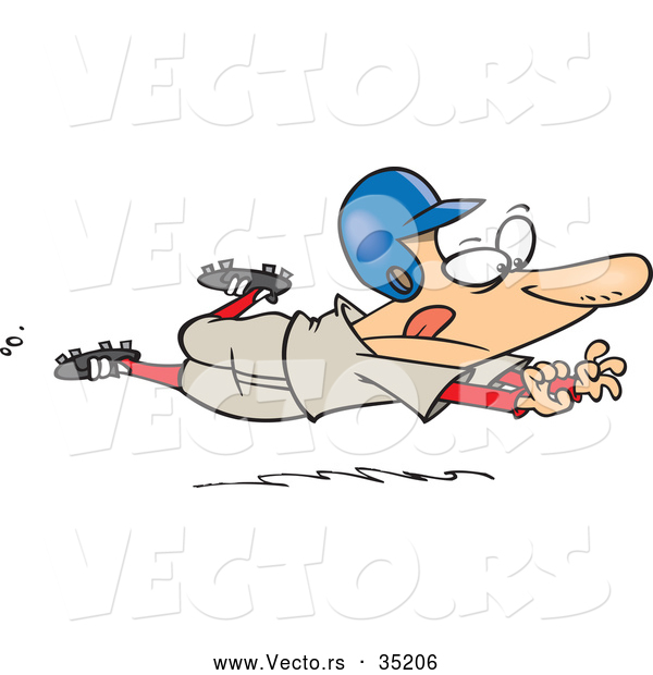 Vector of a Determined Cartoon Baseball Player Jumping Towards Home Base