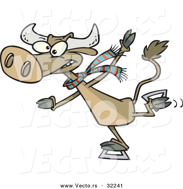 Vector of a Determined Cartoon Cow Ice Skating
