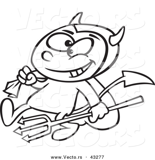 Vector of a Devil Cartoon Boy Carrying a Candy Sack and Pitchfork - Coloring Page Outline