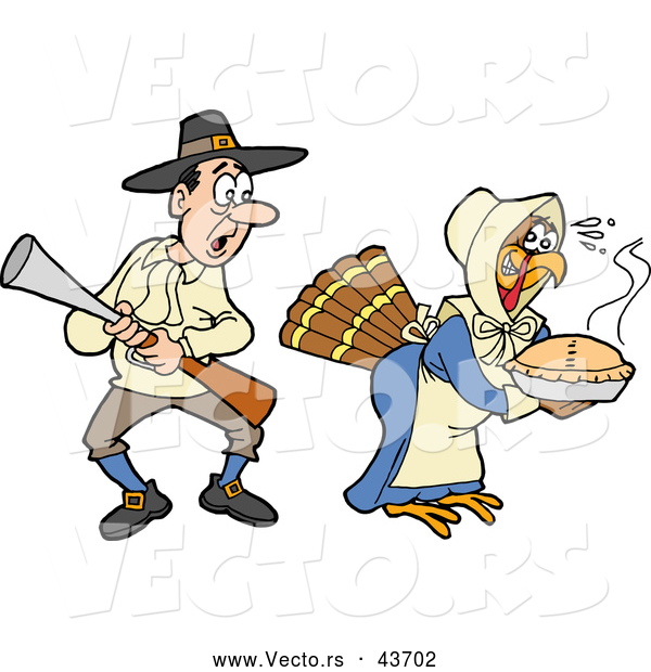 Vector of a Disguised Cartoon Thanksgiving Turkey Delivering Hot Pie While a Shocked Pilgrim Hunter Shocking Stares at Her